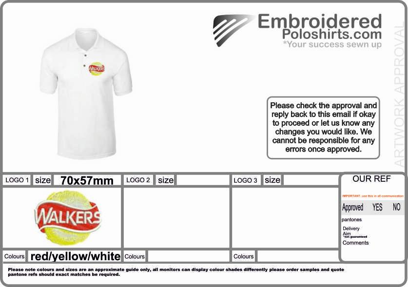 Embroidery approval sheet sent for every new order