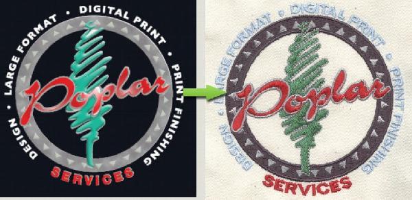 Embroidered logo 17000 stitches